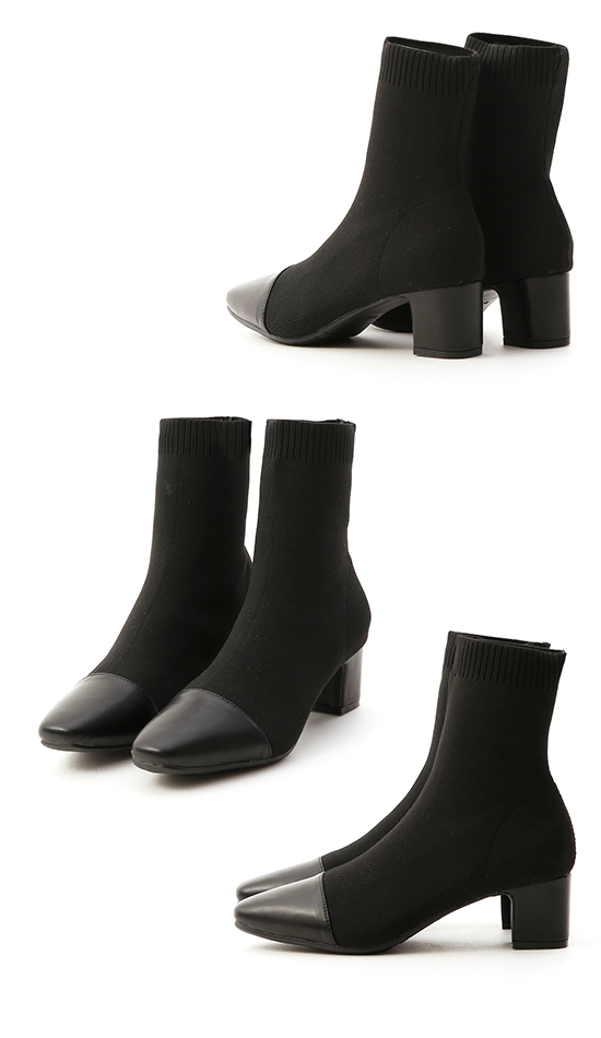 Cap Toe Knitted Sock Boots Black