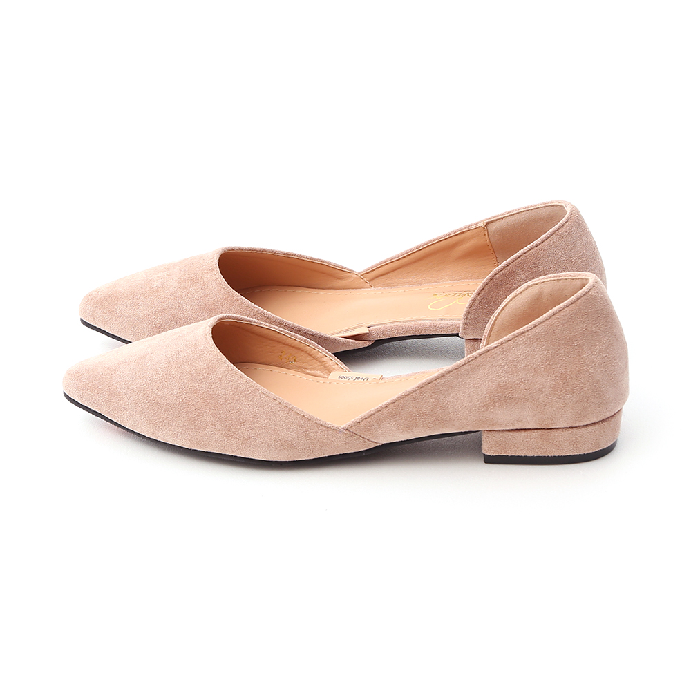 Faux Suede Pointed Toe D'orsay Shoes Almond