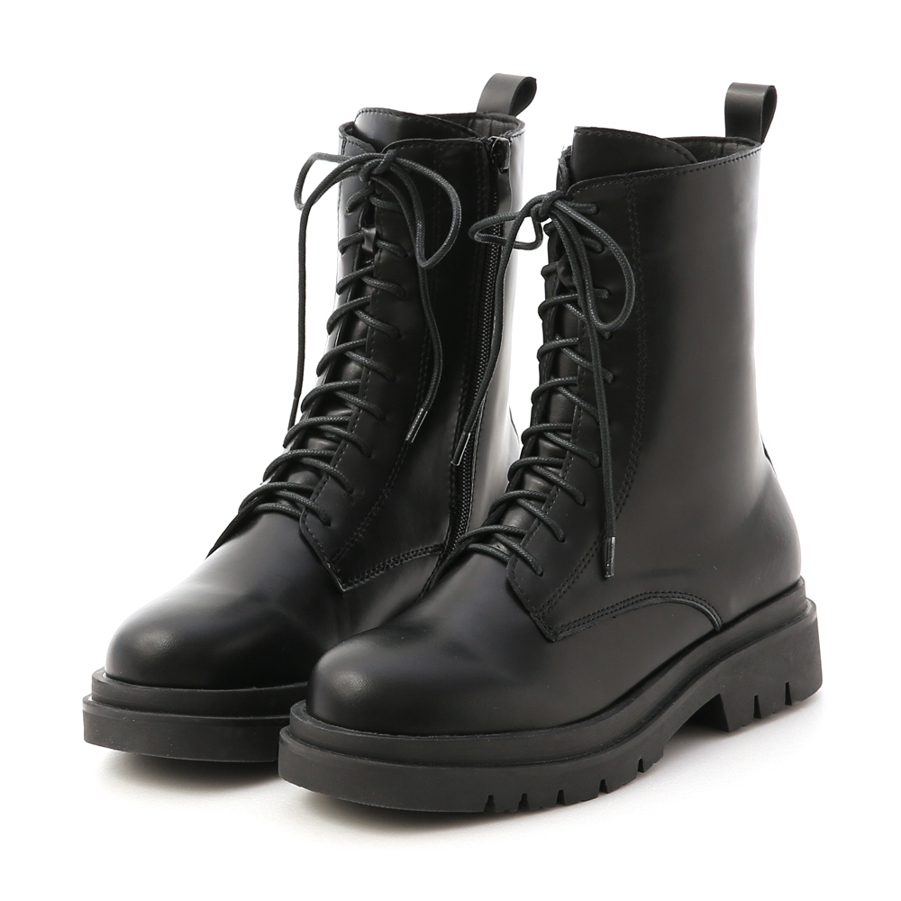 Chunky Sole Lace-Up Mid-Tube Martin Boots Black