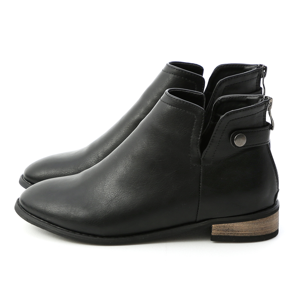 經典自信.側V口後拉鍊低跟短靴 時尚黑