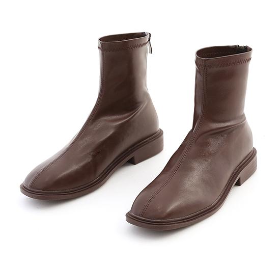好評分享.中車線方頭低跟襪靴 復古咖