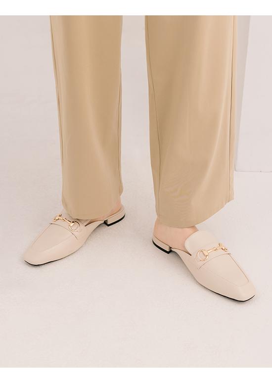 Horsebit Square Toe Low Heels Mules French Vanilla White