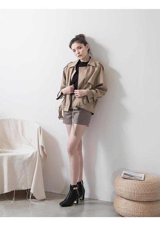 貴族風尚.質感鎖釦金屬跟短靴 時尚黑