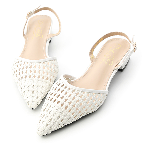 D+AF 清秀佳人.鏤空編織後空尖頭跟鞋