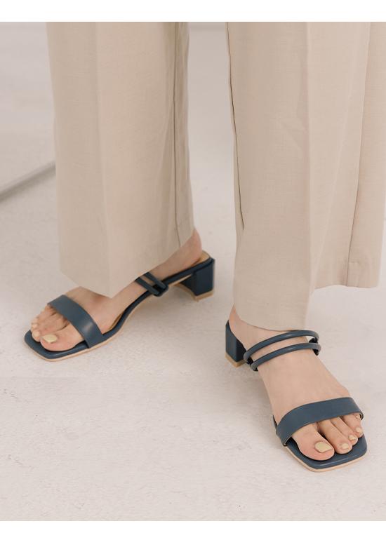 溫柔夏風.二穿法一字中跟涼鞋 暮藍色