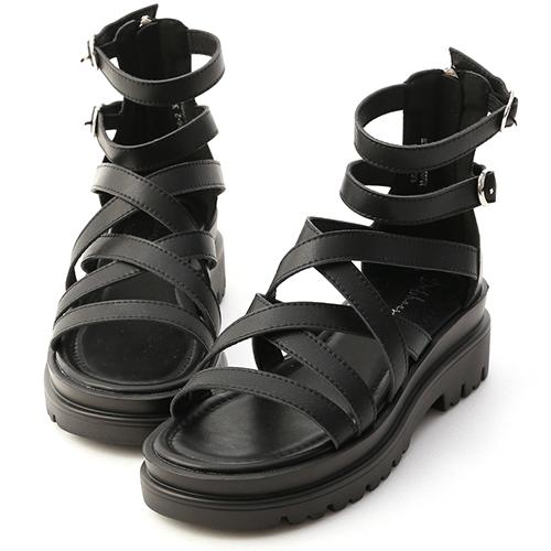 暗黑少女.交叉設計厚底羅馬涼鞋