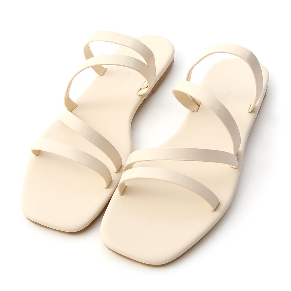 夏日步調.四條細帶方頭平底拖鞋 香草米