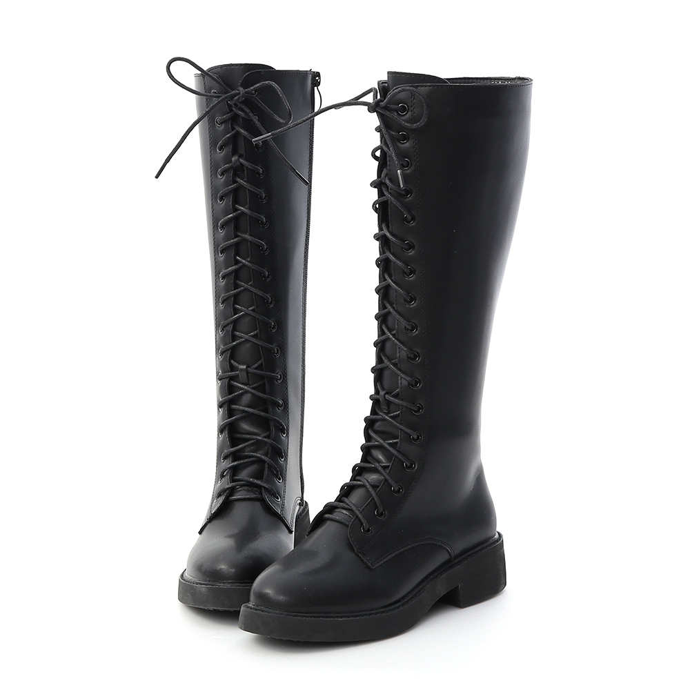 Lace-up Platform Knee High Boots Black