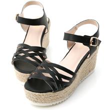 交叉編織草編楔型涼鞋