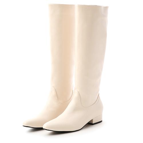 極簡風尚.素面微尖頭低跟長靴