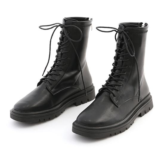 酷感百搭.軟皮革綁帶馬汀短靴 時尚黑