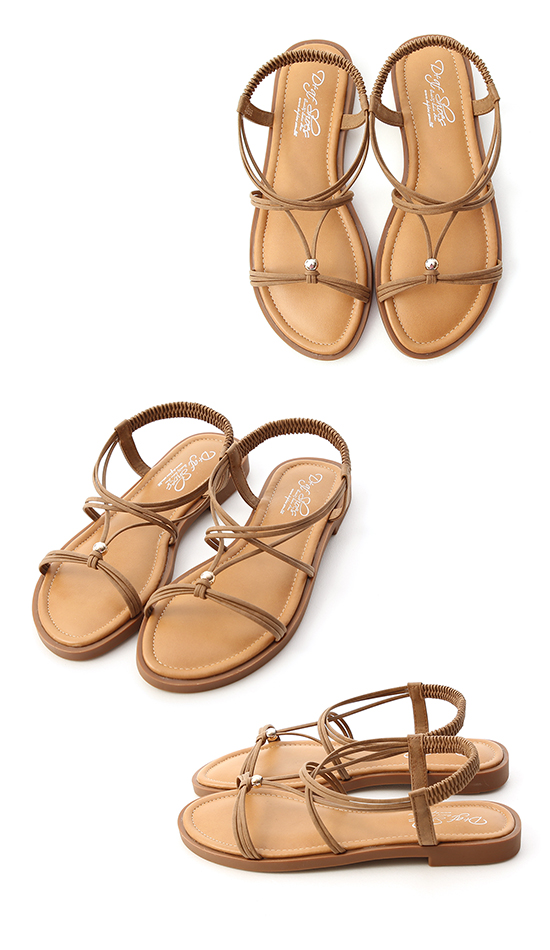 Strappy Soft Cushion Flat Sandals Brown