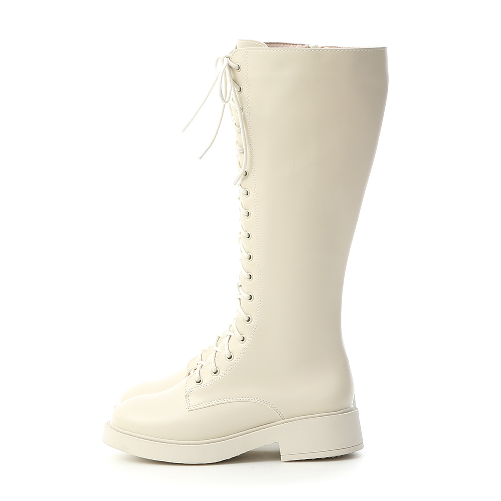 Lace-up Platform Knee High Boots Off-white