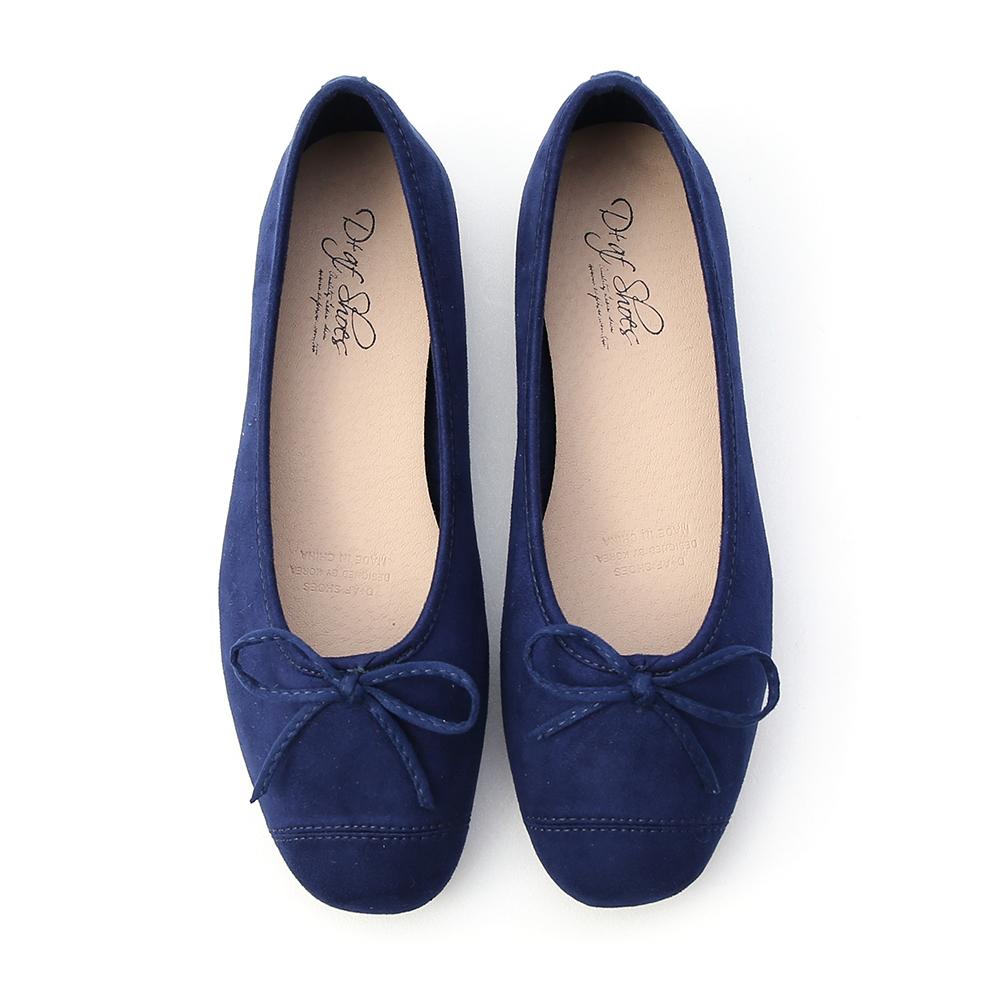 輕快舞曲.繽紛絨料芭蕾娃娃鞋 英國深藍