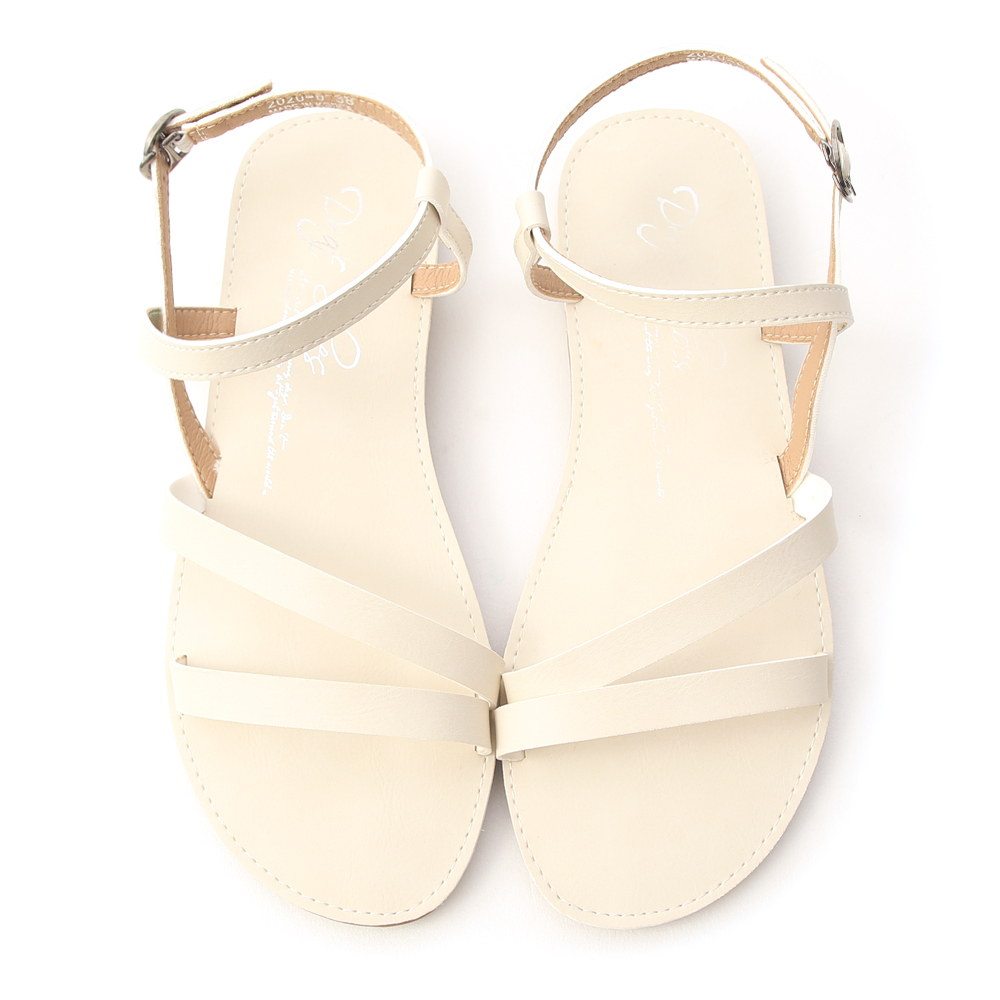 午後漫步.斜帶繞踝超軟平底涼鞋 香草米白