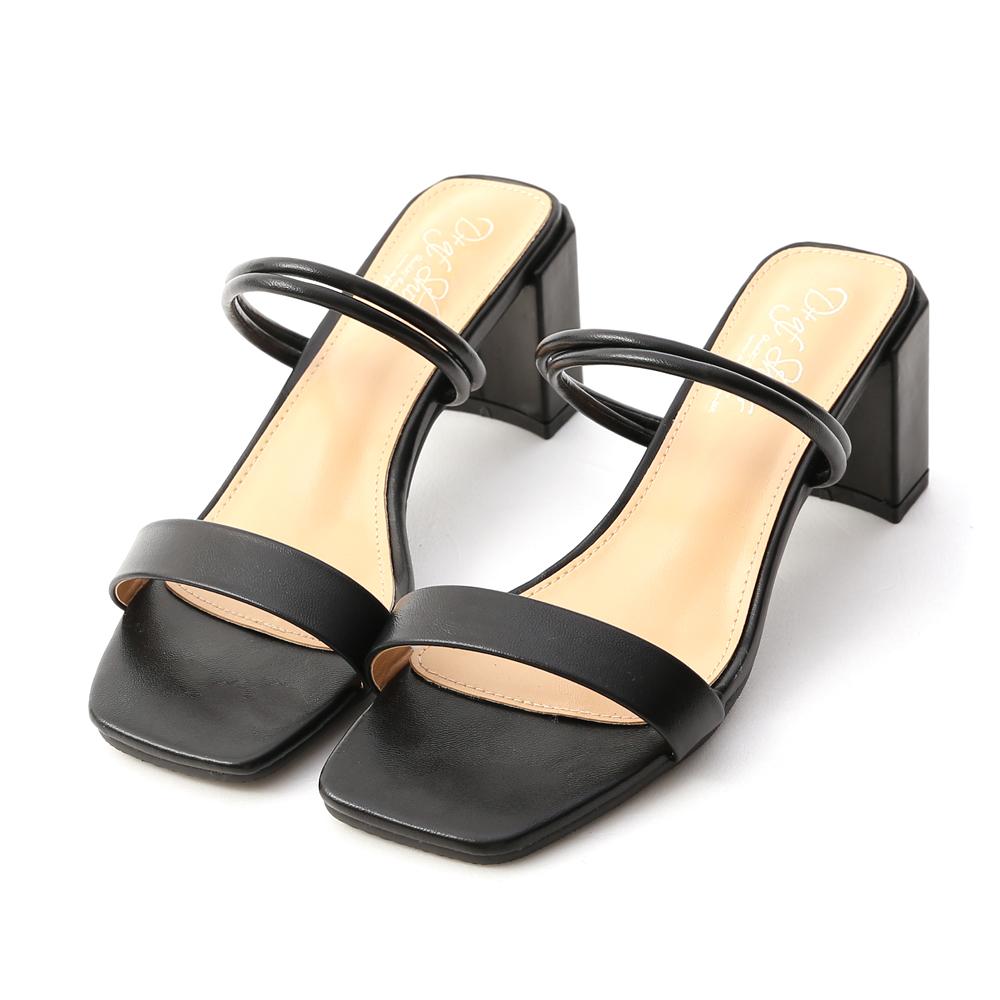 純真夏戀.二穿法一字高跟涼鞋 經典黑