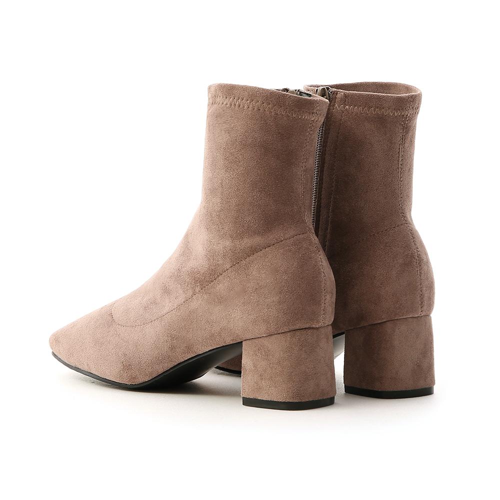 秋冬定番.素面合腿中跟方頭襪靴 奶茶灰棕