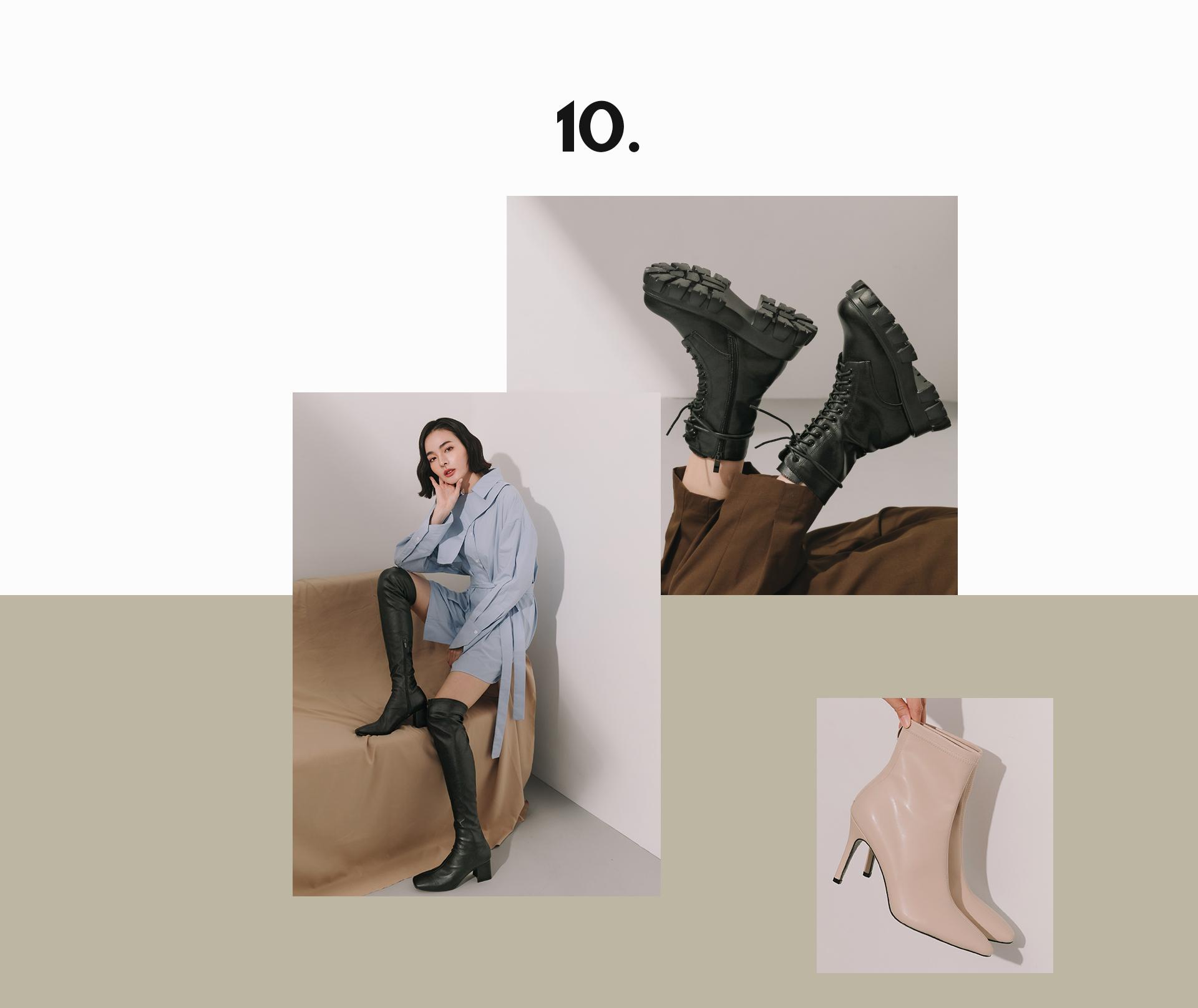 D+AF秋冬流行女鞋 短靴 綁帶靴 襪靴 穆勒鞋