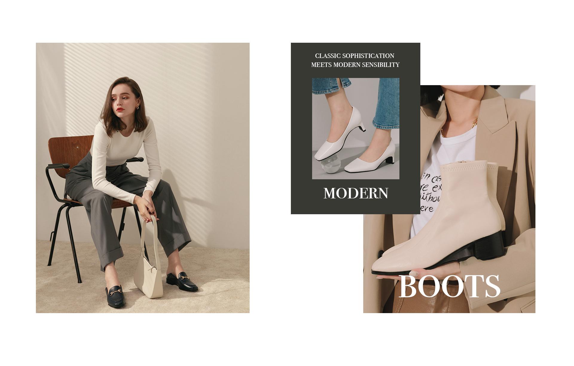 D+AF 2020女靴 靴子 靴款 穆勒鞋 低跟鞋