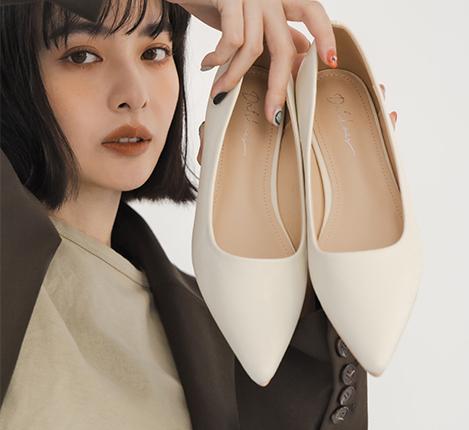 韓風素面低跟尖頭鞋