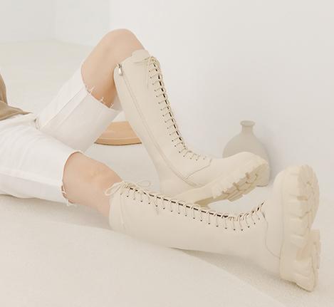 鋸齒底綁帶馬汀長靴 白色長靴