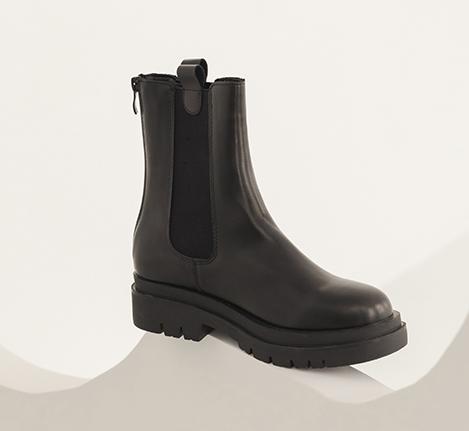 加厚鞋底切爾西短靴 黑色