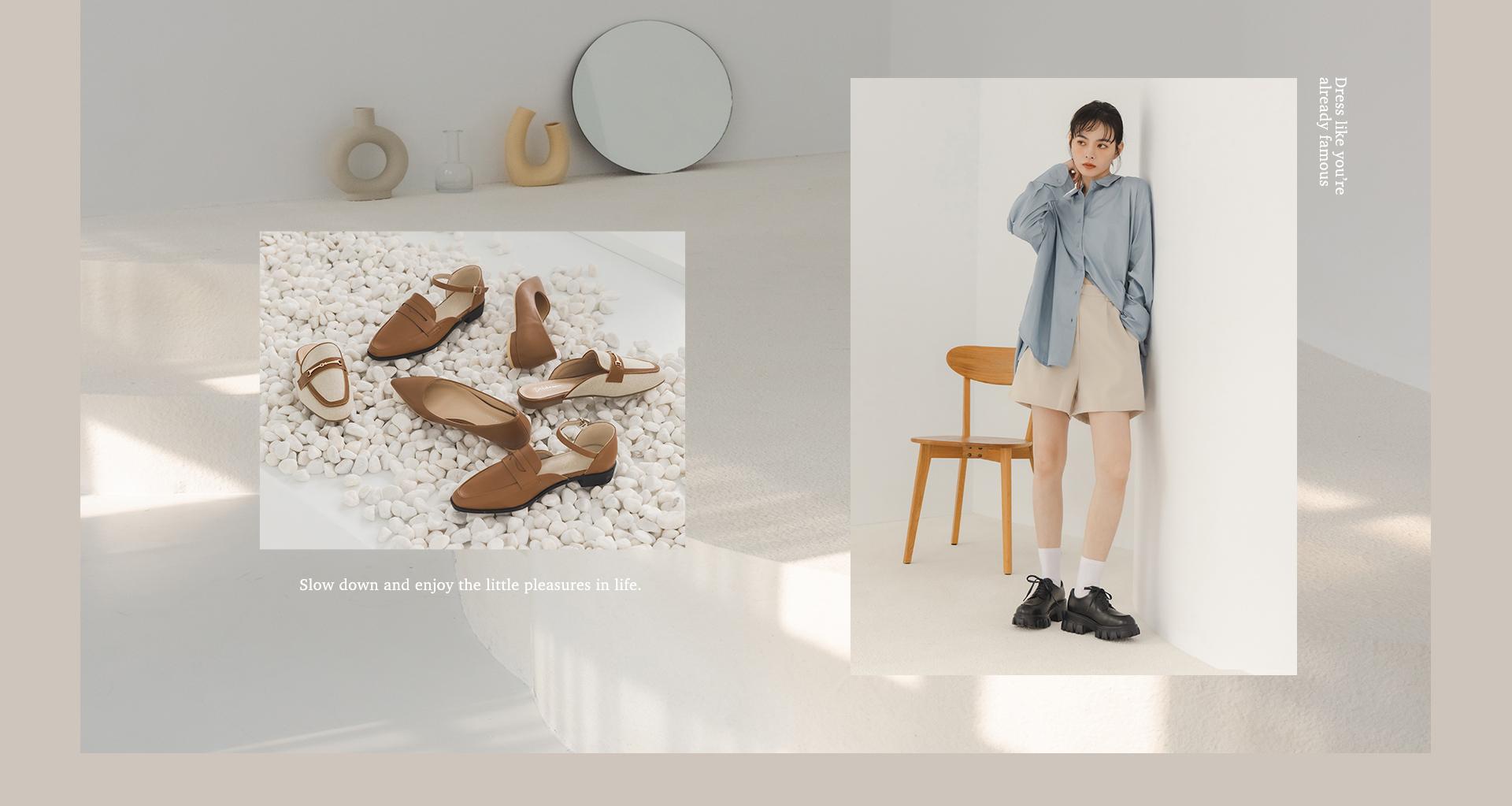 秋冬流行女鞋 焦糖棕色鞋款 綁帶鋸齒鞋