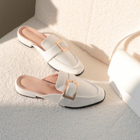 質感大方釦低跟穆勒鞋