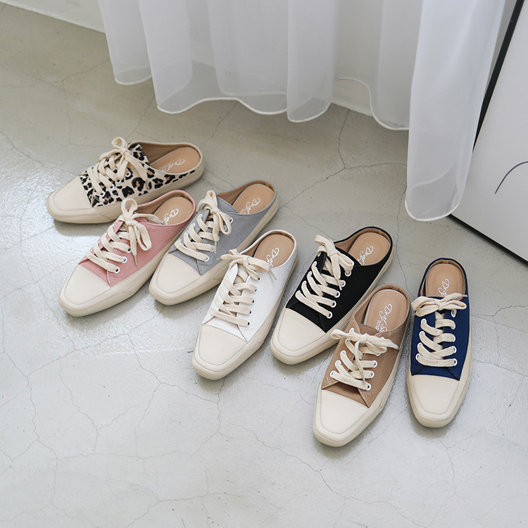 D+AF隨性有型.小方頭帆布休閒穆勒鞋08