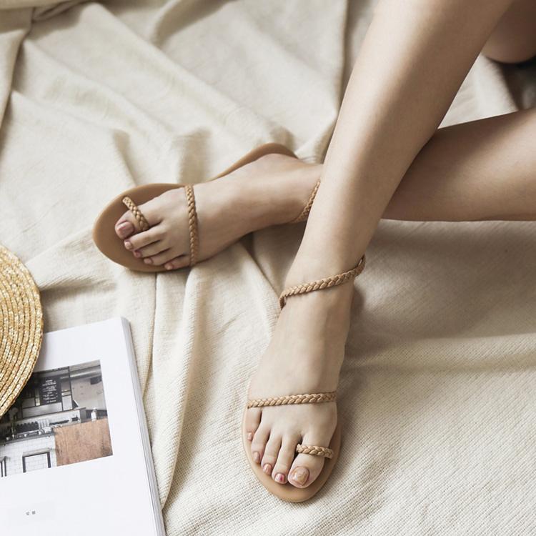 獨特美感.簡約麻辮編織套指涼鞋