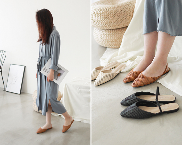 小編推薦 D+AF尖頭編織料平底穆勒鞋 3穿鞋