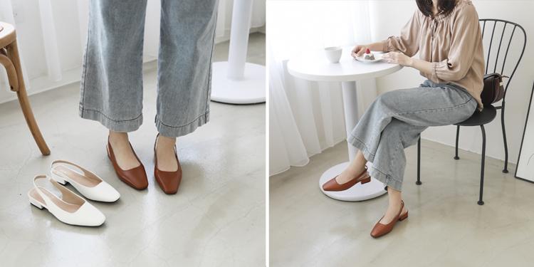 D+AF 復古美感方頭跟鞋