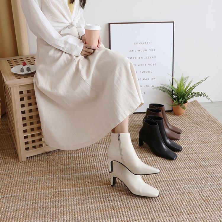 復古方頭美型高跟短靴 大尺碼短靴