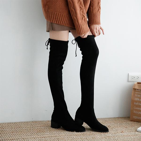 D+AF顯瘦感絨料低跟膝上長靴 膝上靴 大長腿