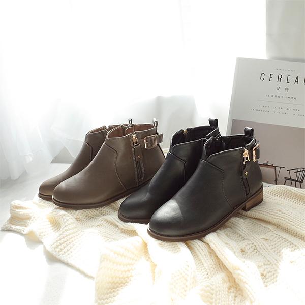 D+AF小V口側拉鍊平底短靴 V口靴 V口短靴 短靴