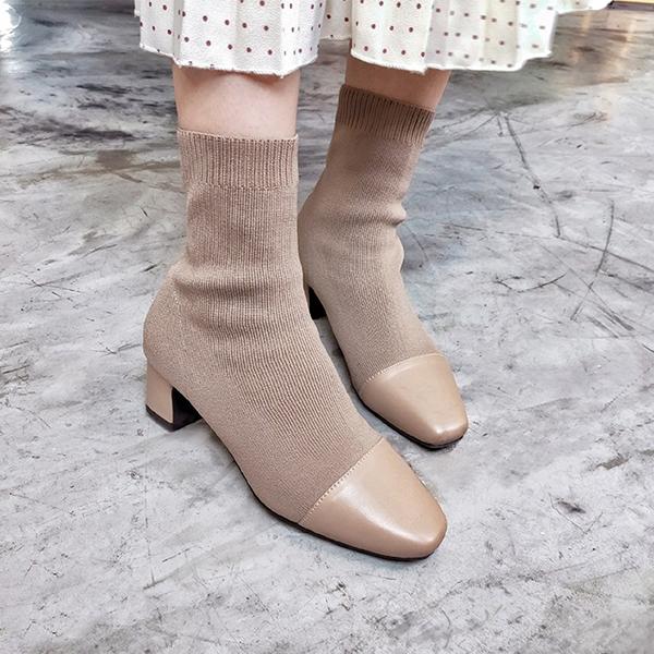 D+AF 小香風拼接針織中跟襪靴 襪靴 襪靴腿型 襪靴推薦