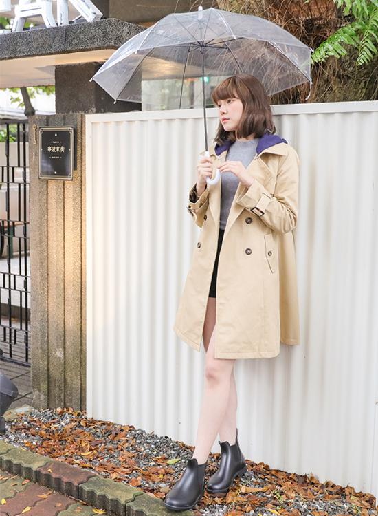 D+AF側鬆緊切爾西短筒雨靴 雨靴 雨靴推薦 雨靴穿搭 蘿蔔腿穿搭術