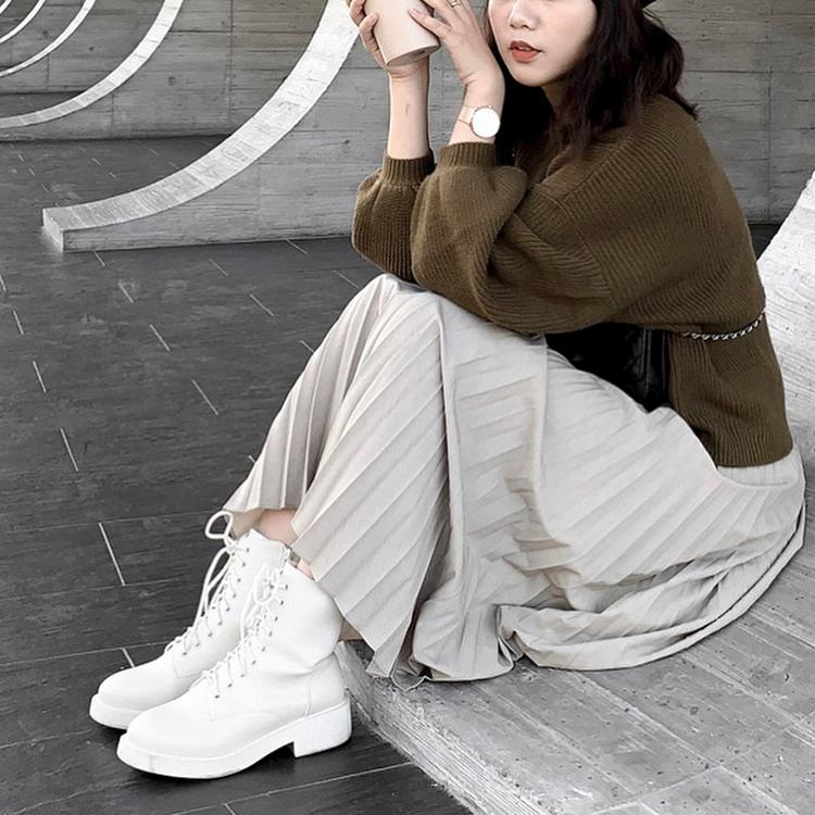 D+AF加厚鞋底中筒馬汀靴 馬汀靴 馬汀靴穿搭 馬丁靴女 馬丁靴白 百褶裙穿搭