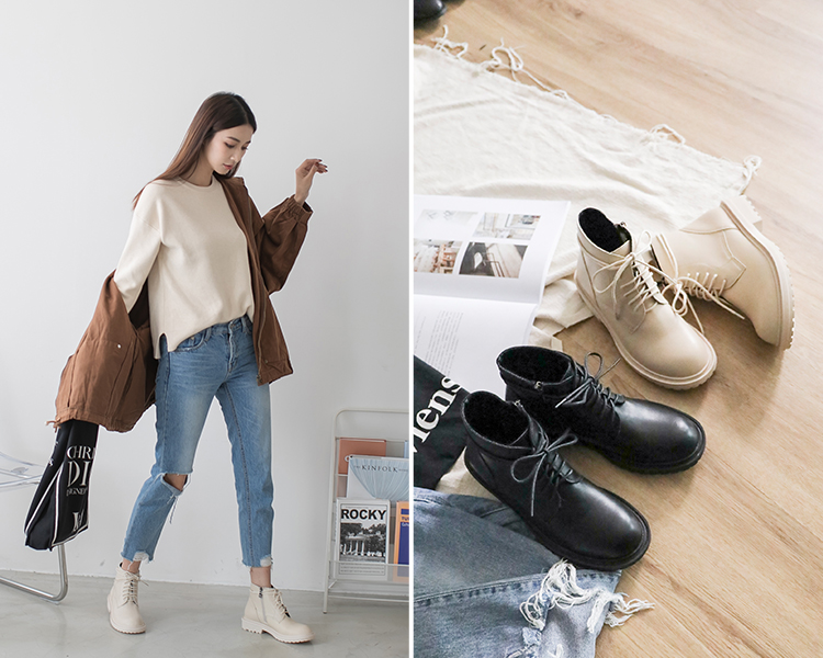 D+AF加厚鞋底中筒馬汀靴 馬汀靴 馬汀靴穿搭 馬丁靴女 馬丁靴白