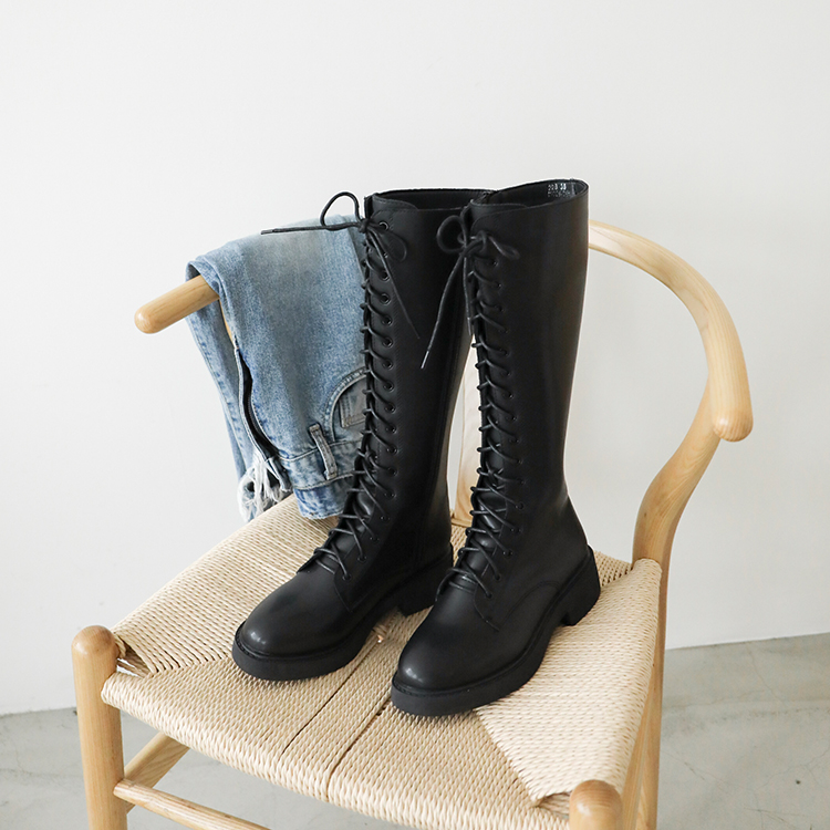 D+AF 加厚底綁帶馬汀長靴 馬丁靴 馬丁靴推薦 馬丁靴女 馬汀靴高筒