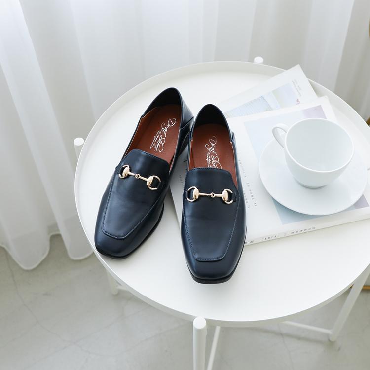 D+AF 馬銜釦可後踩平底樂福鞋