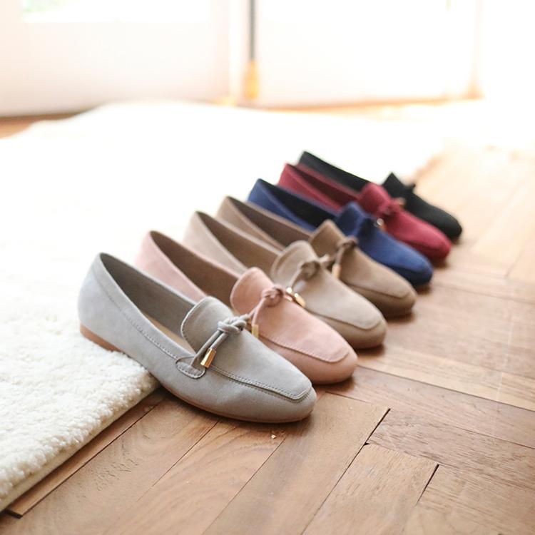 D+AF 小金飾綁結絨料樂福鞋