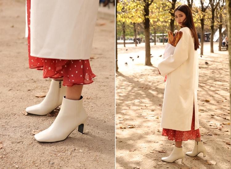 素面方頭美型中跟短靴白靴穿搭