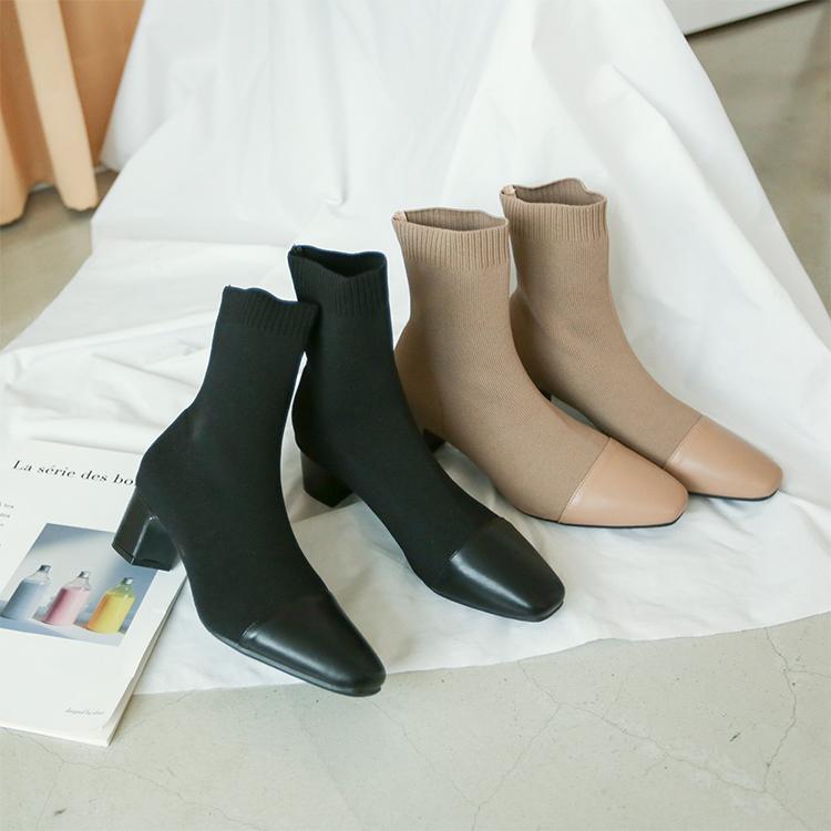 奶茶色 奶茶色穿搭 奶茶靴子 奶茶色鞋子 短靴女 拼接靴子