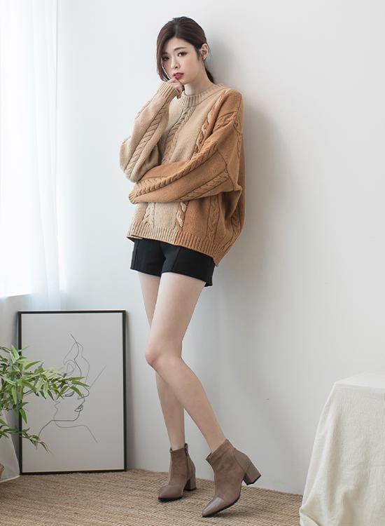 奶茶色 奶茶色穿搭 奶茶色鞋子 短靴女 短靴穿搭 毛衣穿搭 拼接上衣