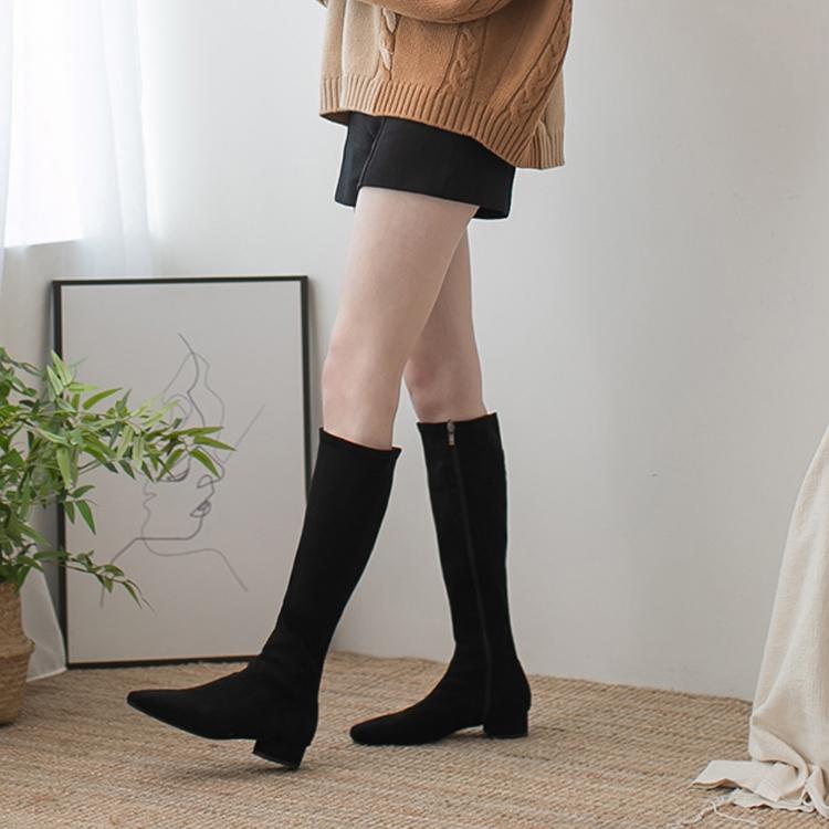 膝下靴 絨料膝下靴 長靴 秋冬靴 膝下靴穿搭 黑色靴