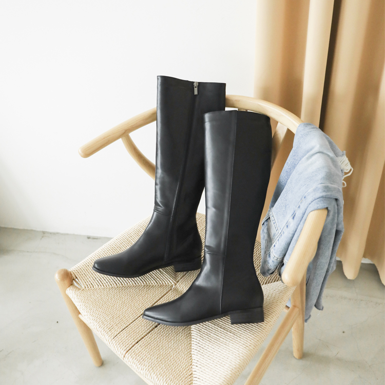 膝下靴 皮革膝下靴 長靴 秋冬靴 膝下靴穿搭 黑色靴
