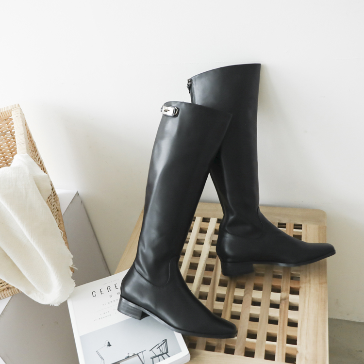 膝下靴 鎖扣膝下靴 長靴 秋冬靴 黑色靴 皮革靴