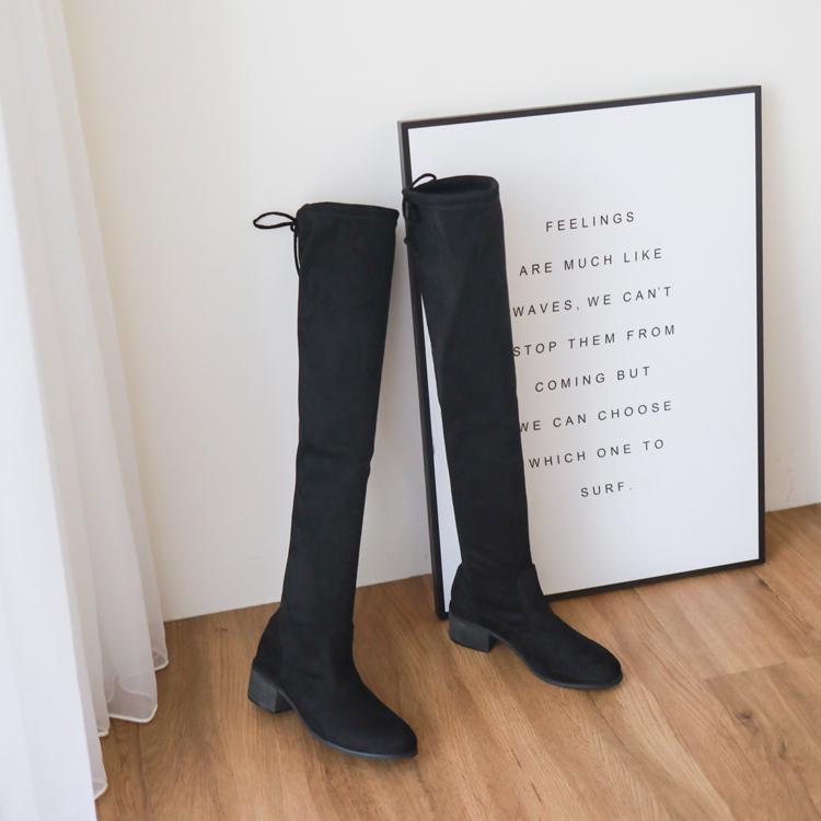 棉花糖女孩、厚片女孩穿搭推薦肉肉腿顯瘦過膝靴(膝上靴)