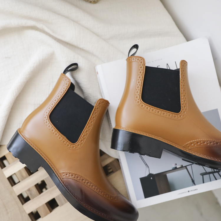 D+AF復古雕花切爾西雨靴
